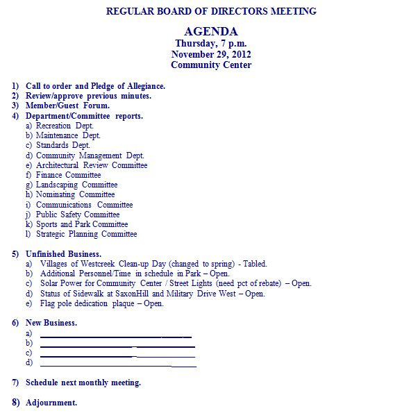 Agenda for november 29 2012 board of directors meeting for Annual board of directors meeting minutes template