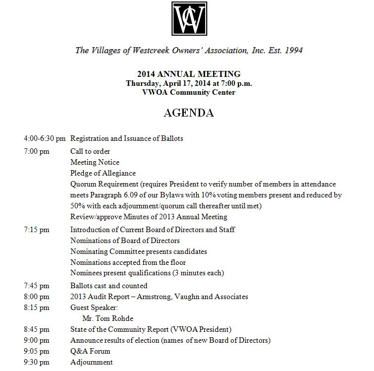 Association annual meeting agenda villages of westcreek for Annual board of directors meeting minutes template