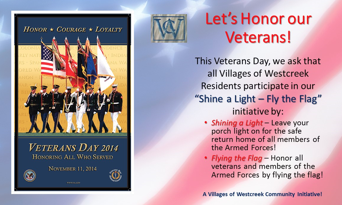 Honoring Our Veterans Shine a Light, Fly the Flag