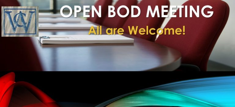 BOD MEETING – SEPTEMBER 20, 2018 AT 7 PM