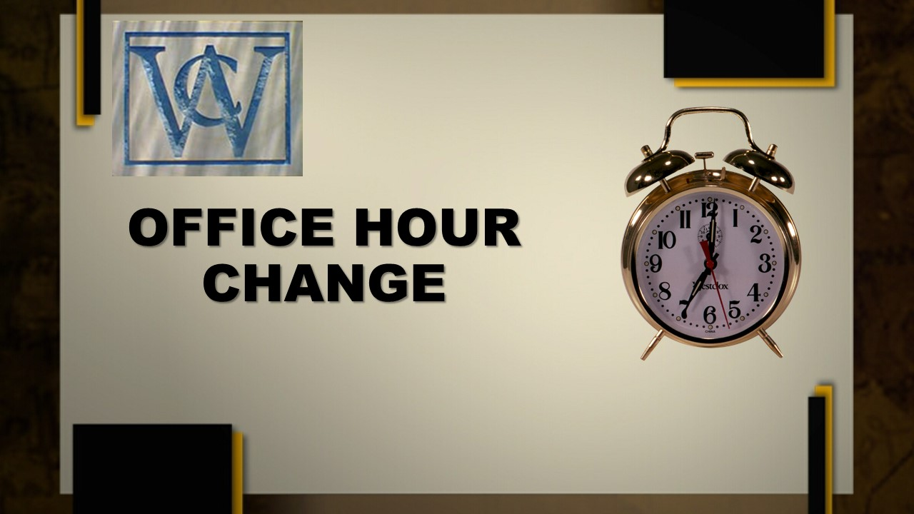 Office hours change july 18 29 2016 villages of for Bureau change