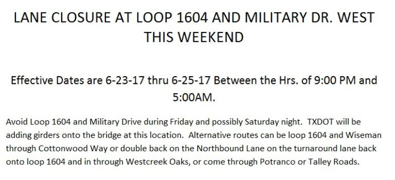TXDOT ROAD CLOSURE INFORMATION FOR THIS WEEKEND