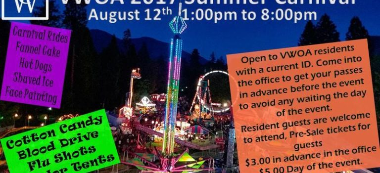 VWOA 2017 Summer Carnival – August 12th – 1:00pm to 8:00pm