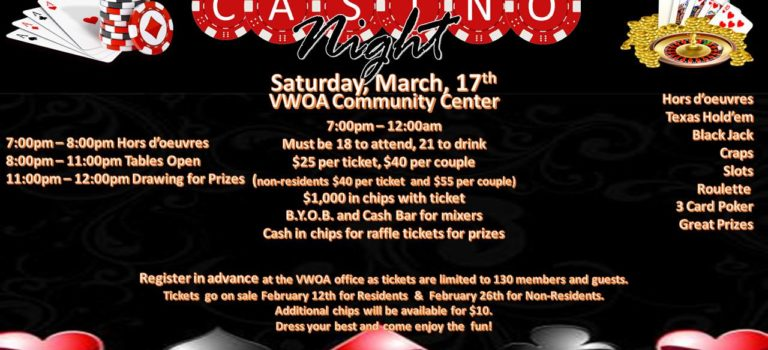 VWOA-Casino Night is here..March 17, 2018 @ 7pm