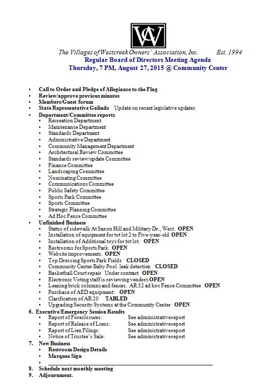 Aug 27 Agenda
