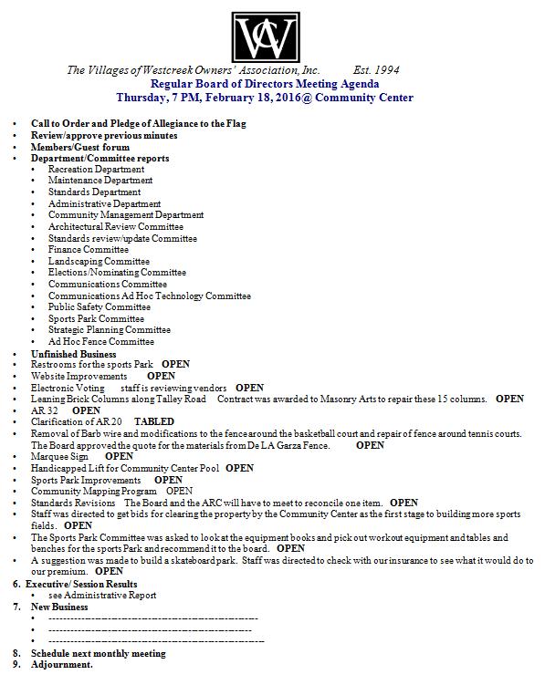 February 18, 2016 Agenda