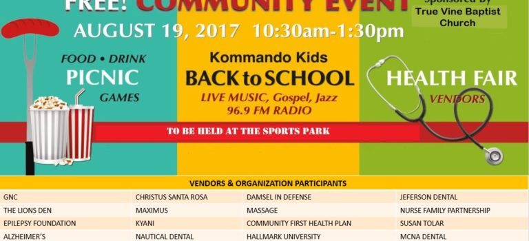 Free Community Health Fair & Picnic to Be Held at the Sports Park, August 19th, from 10:30 am to 1:30 pm