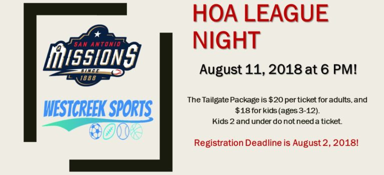 HOA TAILGATE PARTY AT MISSION GAME – REGISTRATION DEADLINE AUGUST 2ND!