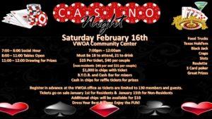 CASINO NIGHT TICKETS ARE ON SALE NOW! @ VWOA Community Center Hall