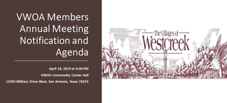 VWOA ANNUAL MEETING NOTIFICATION AND AGENDA