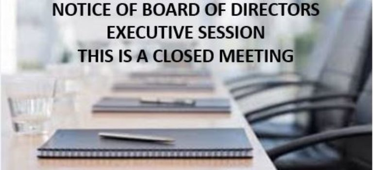 VWOA Board of Directors Executive Session – January 9, 2020 at 5:30 PM